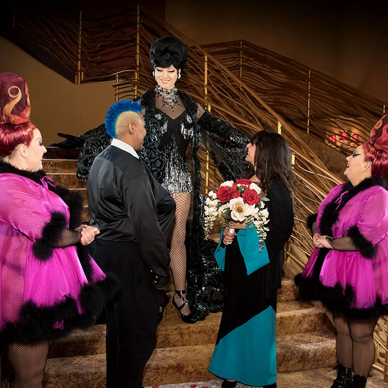 Wedding celebration of two women at Zumanity Wedding Experience