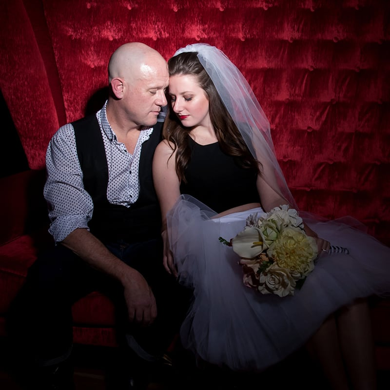 Just married couple at Zumanity Wedding Experience
