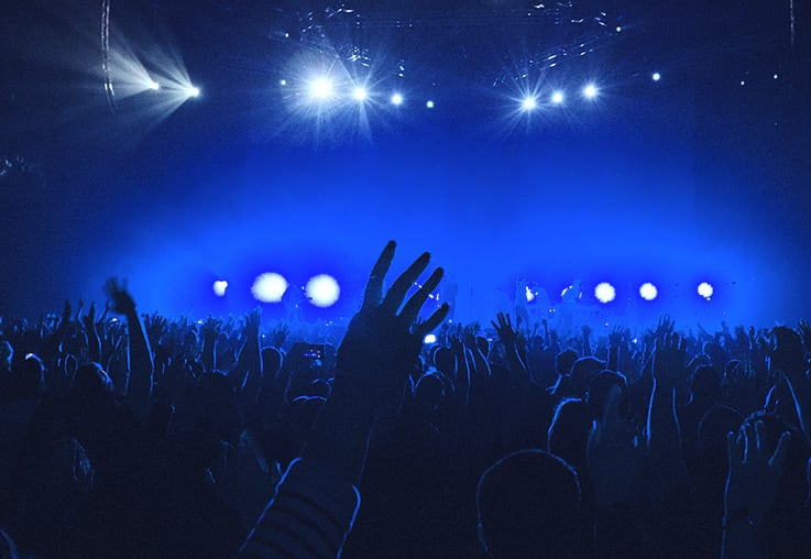 Crowd applauding a show