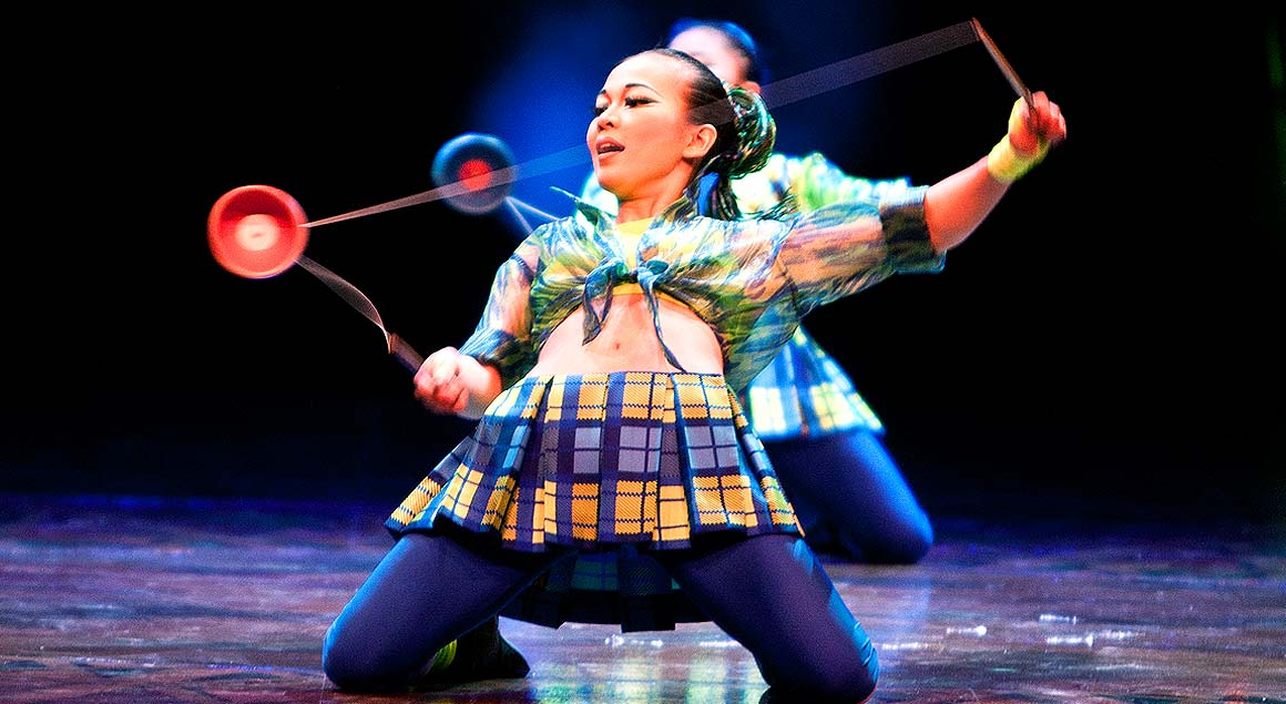 The act of the diabolo in Dralion by Cirque du Soleil
