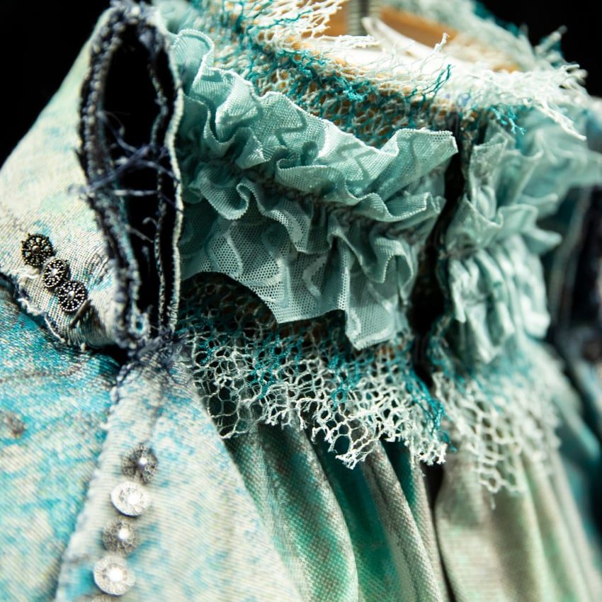 Close-up of new costume for Alegria by Cirque du Soleil