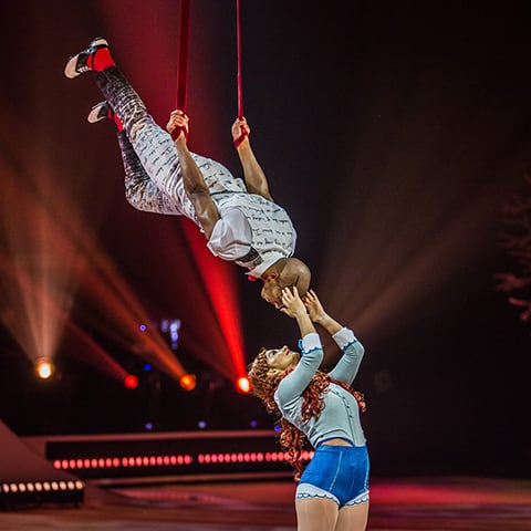 Ballroom, an act of aerial straps and skating from the show Crystal