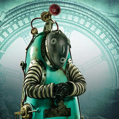 A Kurios robot from the show of the same name