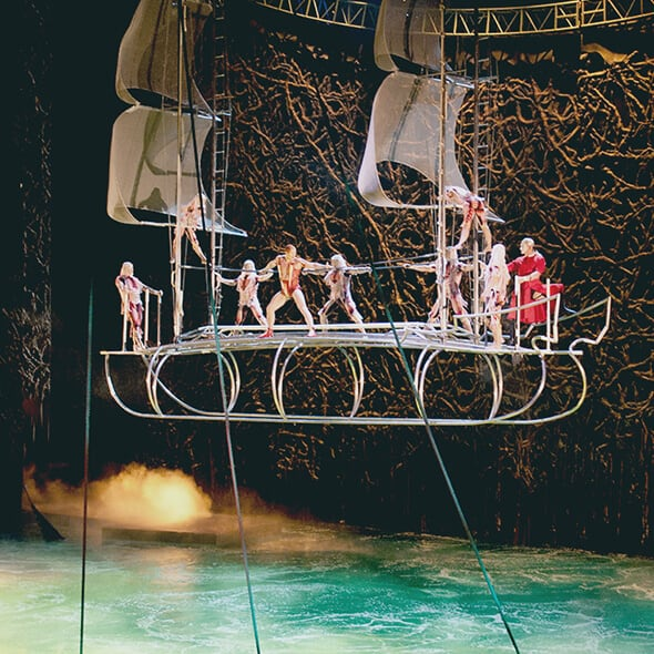 "The Aerial acrobatic Bateau act from ""O"""