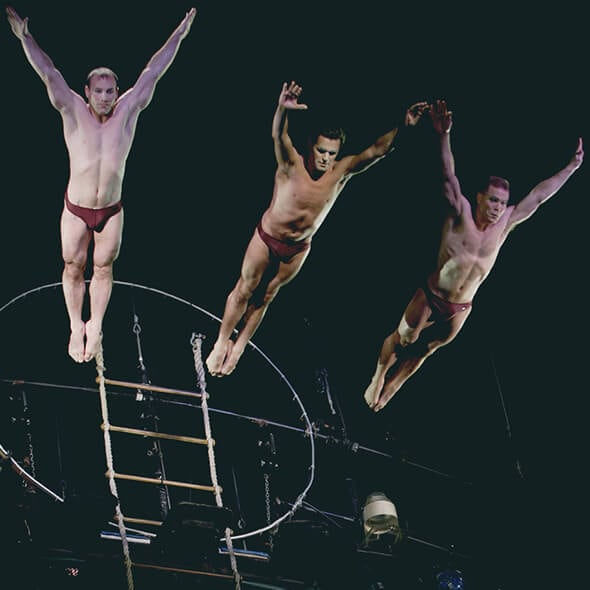 "The high dive act from ""O"""