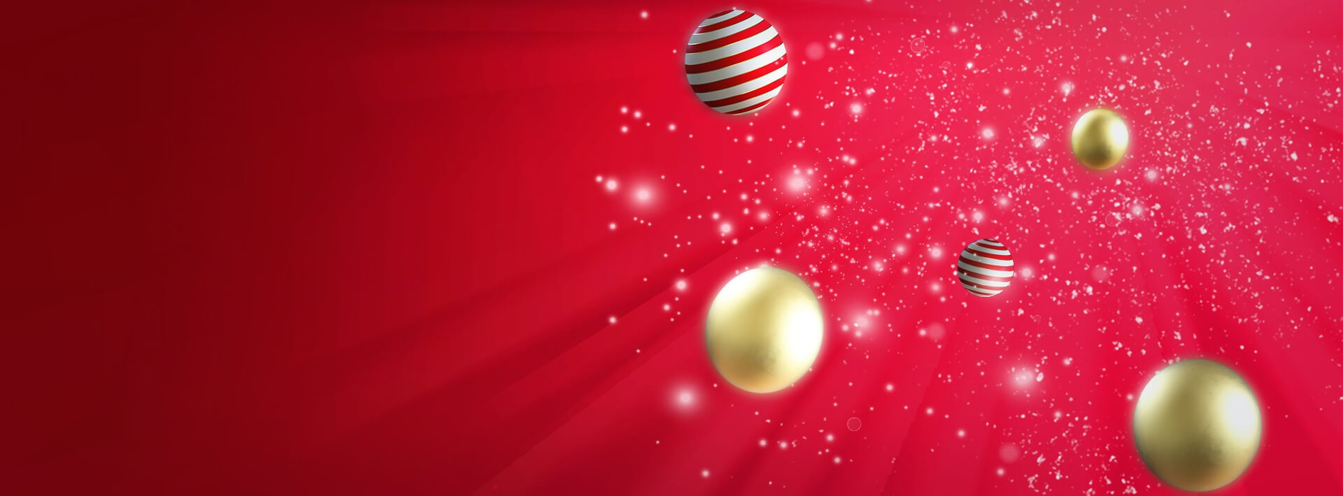 Red background with christmas ornaments