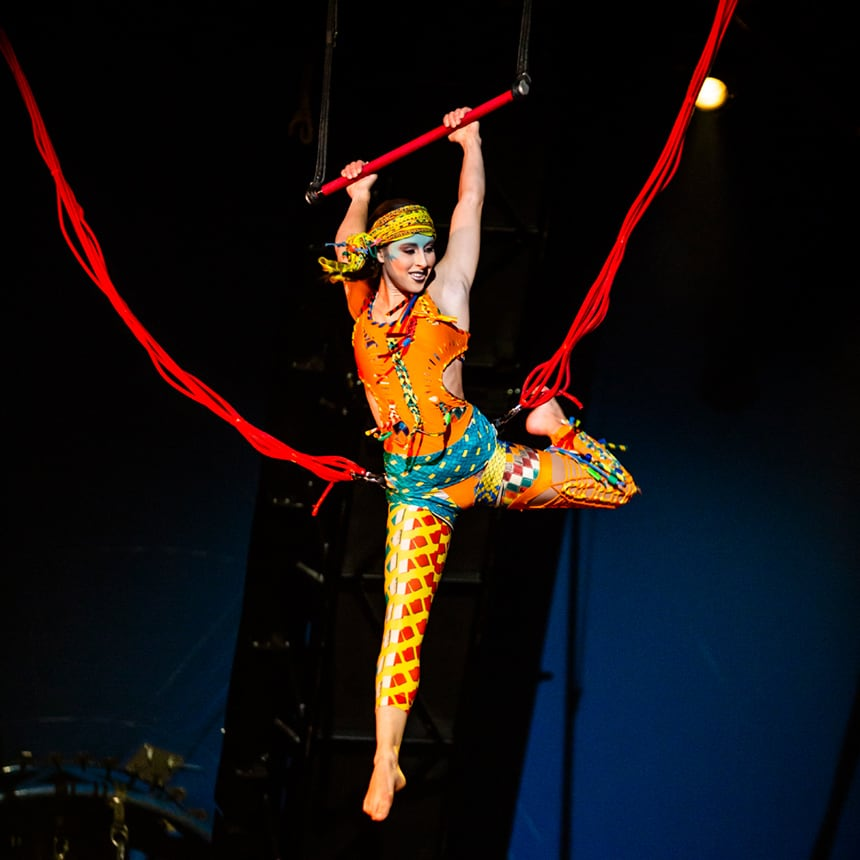 Free Spirits holding the trapeze from Volta by Cirque du Soleil