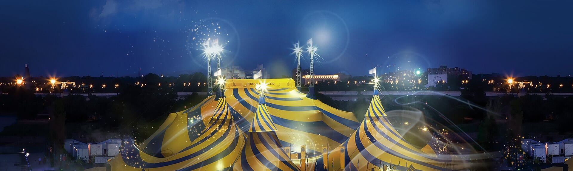 Discover how the Cirque du Soleil blue and yellow big top goes up!