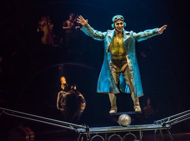 The fearless Aviator who is an expert in the discipline of rola bola in Kurios, by Cirque du Soleil