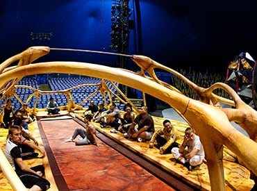Begind-the-scenes TOTEM, by Cirque du Soleil, artists come together to focus on their performance before the show.